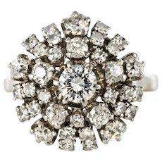 1970s Retro 18 Karat White Gold Platinum Diamonds Radiant Ring