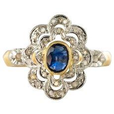 French Belle Époque Sapphire Diamonds 18 Karat Yellow Gold Daisy Ring