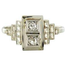 French 1930s Platinum White Gold Diamond Art Deco Ring