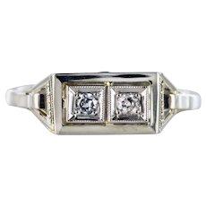 French 1930s Platinum 18 Karat White Gold Diamond Art Deco Ring