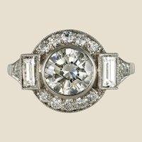 New Art Deco Style Diamond Platinum Ring