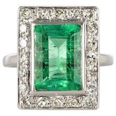 1920s French Art Deco 2.60 Carat Emerald Diamond Ring