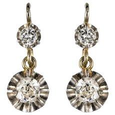 1930s Diamonds 18 Karat White Gold Sleepers Earrings