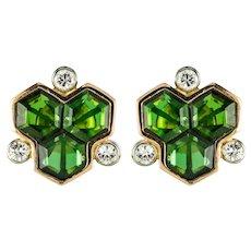 Baume Creation Tourmaline Diamonds 18 Karat Yellow Gold Stud Earrings