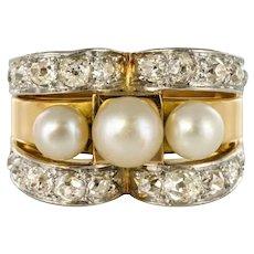 French 1940s Retro Diamonds Natural Pearls 18 Karat Yellow Gold Tank Ring