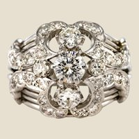 1960s 1.50 Carat Diamond 18 Karat White Gold Retro Dome Ring