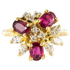 1970s Ruby Diamonds Asymmetrical Yellow Gold Cocktail Ring