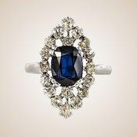 French 2.65 Carat Sapphire Diamonds Platinum Marquise Ring