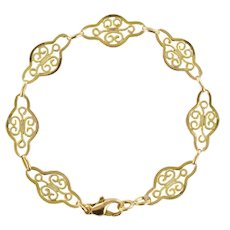 French 1960s Filigree Links 18 Karat Yellow Gold Chain Bracelet