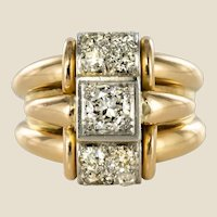 1940s Retro Diamonds Gadroons 18 Karat Yellow Gold Tank Ring