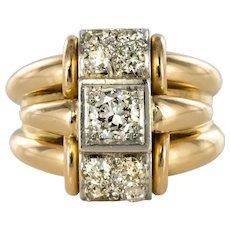 1940s Retro Diamonds Gadroons 18 Karat Yellow Gold Tank Ring