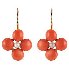 19th Century Coral Natural Pearls 18 Karat Rose Gold Clover Shape Earrings