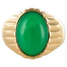 1960s 6 Carat Chrysoprase 18 Karat Yellow Gold Signet Ring