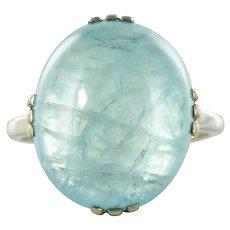 1960s 14.65 Carat Cabochon Aquamarine 18 Karat White Gold Ring