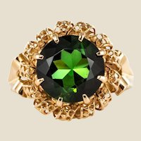 French 3.64 Carat Green Tourmaline 18 Karat Rose Gold Ring