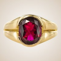 French 1980s Rubellite Tourmaline 18 Karat Yellow Gold Ring