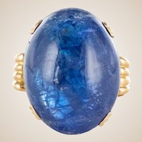 French 1960s Retro 49.20 Carat Tanzanite 18 Karat Yellow Gold Ring