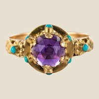 20th Century Amethyst Turquoise 20 Karat Yellow Gold Ring