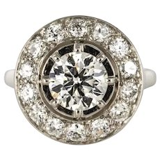 French 1930s Art Deco 1.62 Carat Diamonds Round Platinum Engagement Ring