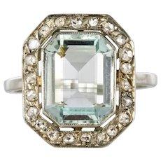 French Art Deco 4.47 Carat Aquamarine Diamond 18 Karat White Gold Ring