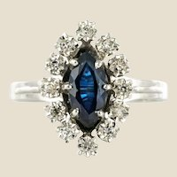 French 1970s Sapphire Diamonds 18 Karat White Gold Marquise Ring