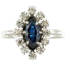 French 1970s Sapphire Diamonds 18 Karat White Gold Marquise Ring