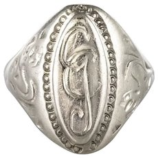 19th Century Antique Silver Unisex Signet Ring