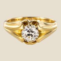 19th Century 0,80 Carat Diamond 18 Karat Yellow Gold Bangle Ring
