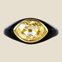 19th Century 1.95 Carat Yellow Diamond Black Enamel 18 Karat Yellow Gold Ring