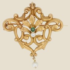 French Belle Époque Pearl Emerald Diamond 18 Karat Yellow Gold Brooch Pendant