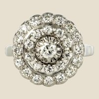 French 1960s 0.85 Carat Diamonds 18 Karat White Gold Round Ring