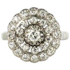 French 1960s 0.85 Carat Diamonds 18 Karat White Gold Round Ring