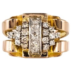 French 1940s Retro Diamonds 18 Karat Yellow Gold Platinum Tank Ring