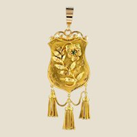 19th Century Emerald Yellow Gold Shield Floral Decorations Locket Pendant