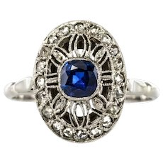 French 1930s Art Deco Diamond Sapphires Platinum Ring