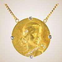 Vernon French 1900s Art Nouveau 18 Karat Yellow Gold Diamond Necklace