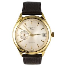 1980s Zenith Elite Automatic 18 Karat Yellow Gold Wristwatch