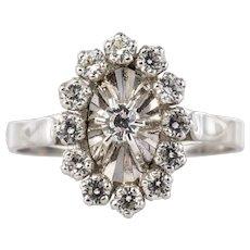 French 1970s White Sapphire 18 Karat White Gold Pompadour Ring