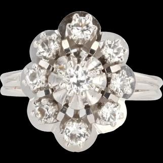 French 1960s White Sapphire 18 Karat White Gold Retro Ring