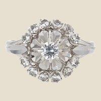 French 1960s White Sapphire 18 Karat White Gold Cluster Ring