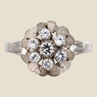 French 1970s White Sapphire 18 Karat White Gold Retro Ring