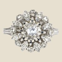French 1960s White Sapphire 18 Karat White Gold Ring
