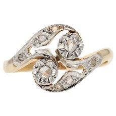 French 1920s Belle Époque Diamonds 18 Karat Yellow White Gold Ring
