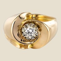French 1950s 0.13 Carat Diamond 18 Karat Yellow Gold Ring