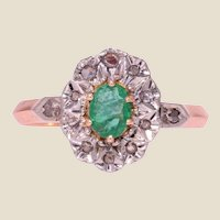 19th Century Emerald Diamonds 18 Karat Rose Gold Pompadour Ring