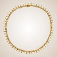 1950s Retro 18 Karat Rose Gold Flange Retro Necklace