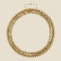 1950s Retro 18 Karat Yellow Gold Articulated Retro Necklace