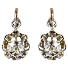19th Century Diamond 18 Karat Rose Gold Sleepers Earrings