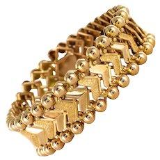 1960s 18 Karat Yellow Gold Arrow Head Mesh Retro Bracelet