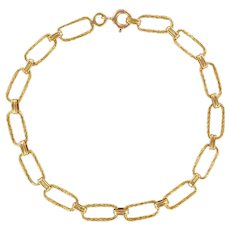 French 1960s Retro 18 Karat Yellow Gold Twisted Links Necklace